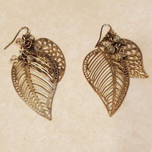Claire's Gold Jeweled Feather Earrings